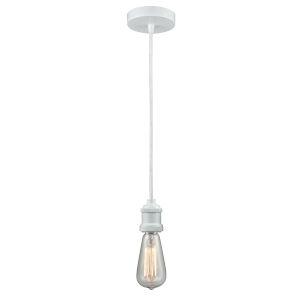 Edison White Two-Inch One-Light Mini Pendant with White Cord