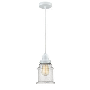 Winchester White Eight-Inch One-Light Mini Pendant with White Cord