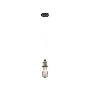 Bare Bulb Black Antique Brass Two-Inch LED Mini Pendant with Black Cord