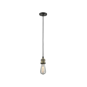 Bare Bulb Black Antique Brass Two-Inch One-Light Mini Pendant with Black Cord