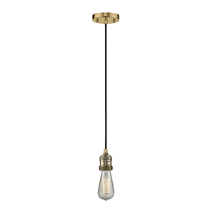 Bare Bulb Brushed Brass Two-Inch LED Mini Pendant with Black Cord