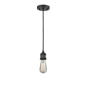 Bare Bulb Black Two-Inch LED Mini Pendant with Black Cord