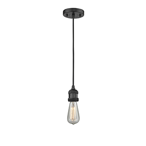 Bare Bulb Black Two-Inch One-Light Mini Pendant with Black Cord