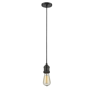 Bare Bulb Oiled Rubbed Bronze Two-Inch LED Mini Pendant with Black Cord