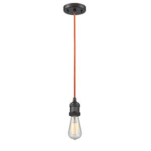 Bare Bulb Oiled Rubbed Bronze Two-Inch LED Mini Pendant with Orange Cord