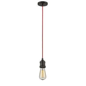 Bare Bulb Oiled Rubbed Bronze Two-Inch LED Mini Pendant with Red Cord