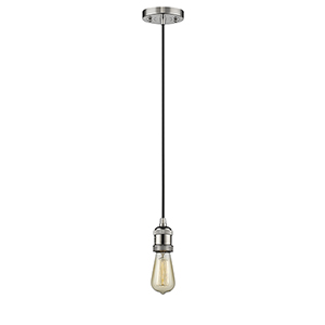 Bare Bulb Polished Nickel Two-Inch One-Light Mini Pendant with Black Cord