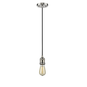 Bare Bulb Brushed Satin Nickel Two-Inch LED Mini Pendant with Black Cord