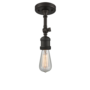 Bare Bulb Oiled Rubbed Bronze Eight-Inch One-Light Semi Flush Mount