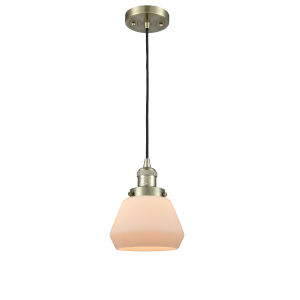 Fulton Antique Brass 60W One-Light Mini Pendant with Matte White Cased Glass