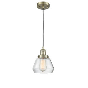 Fulton Antique Brass One-Light Mini Pendant with Clear Glass