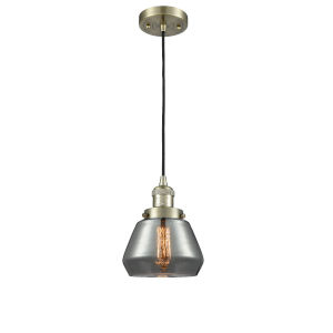 Fulton Antique Brass One-Light Mini Pendant with Smoked Glass