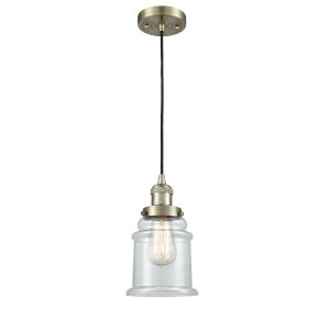 Canton Antique Brass LED Mini Pendant with Clear Glass