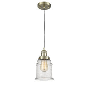 Canton Antique Brass LED Mini Pendant with Seedy Glass