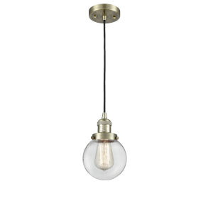 Beacon Antique Brass One-Light Mini Pendant with Clear Glass