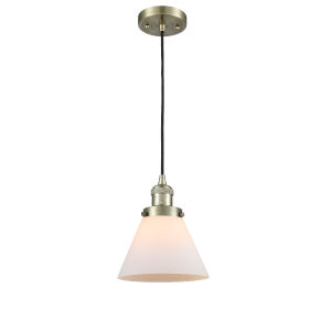 Large Cone Antique Brass 60W One-Light Mini Pendant with Matte White Cased Glass