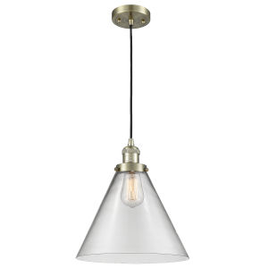 X-Large Cone Antique Brass One-Light Pendant with Clear Glass