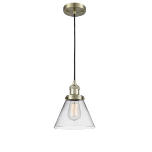 Large Cone Antique Brass One-Light Mini Pendant with Clear Glass