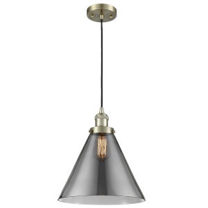 X-Large Cone Antique Brass One-Light Pendant with Smoked Glass