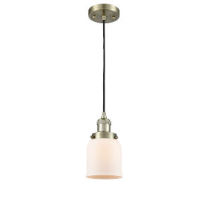 Small Bell Antique Brass 60W One-Light Mini Pendant with Matte White Cased Glass