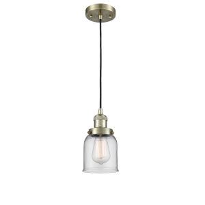 Small Bell Antique Brass One-Light Mini Pendant with Clear Glass