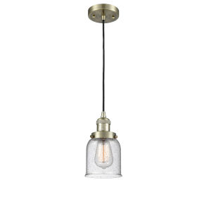Small Bell Antique Brass One-Light Mini Pendant with Seedy Glass