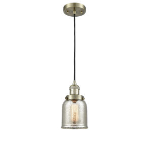 Small Bell Antique Brass One-Light Mini Pendant with Silver Plated Mercury Glass