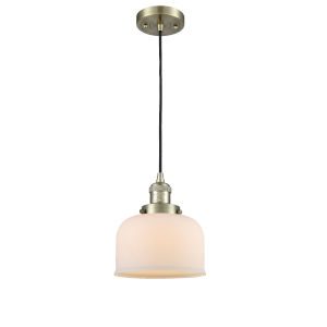 Large Bell Antique Brass 3.5W LED Mini Pendant with Matte White Cased Glass