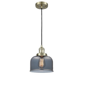 Large Bell Antique Brass One-Light Mini Pendant with Smoked Glass