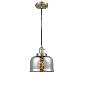 Large Bell Antique Brass One-Light Mini Pendant with Silver Plated Mercury Glass