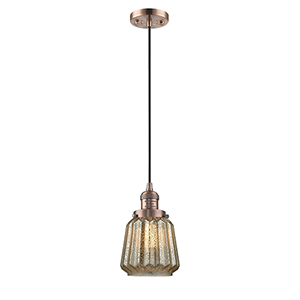 Chatham Antique Copper Six-Inch LED Mini Pendant with Mercury Fluted Novelty Glass and Black Cord
