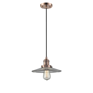 Halophane Antique Copper Nine-Inch LED Mini Pendant with Halophane Cone Glass and Black Cord
