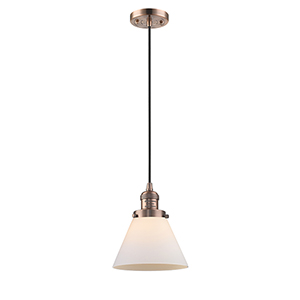 X-Large Cone Antique Copper 12-Inch LED Pendant with Matte White Cased Cone Glass and Black Cord
