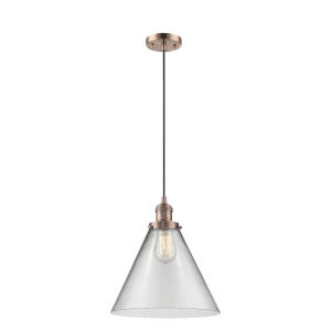 X-Large Cone Antique Copper LED Pendant with Clear Glass