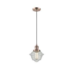 Small Oxford Antique Copper LED Mini Pendant with Seedy Glass