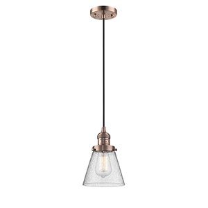 Small Cone Antique Copper Six-Inch One-Light Mini Pendant with Seedy Cone Glass and Black Cord