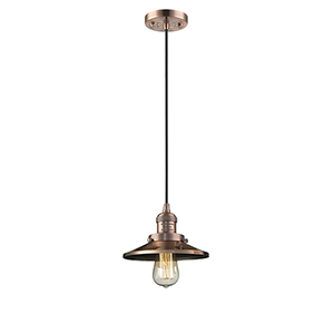 Railroad Antique Copper Eight-Inch LED Mini Pendant with Black Cord