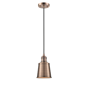 Addison Antique Copper Five-Inch LED Mini Pendant with Black Cord