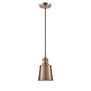 Addison Antique Copper Five-Inch One-Light Mini Pendant with Black Cord