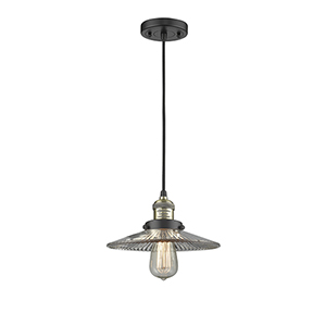 Halophane Black Antique Brass Nine-Inch One-Light Mini Pendant with Halophane Cone Glass and Black Cord