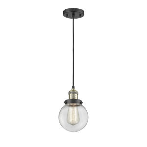 Beacon Black Antique Brass LED Mini Pendant with Clear Glass