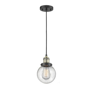 Beacon Black Antique Brass LED Mini Pendant with Seedy Glass