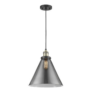 X-Large Cone Black Antique Brass One-Light Pendant with Smoked Glass