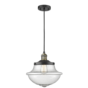 Oxford School House Black Antique Brass 12-Inch One-Light Pendant with Seedy Bell Glass