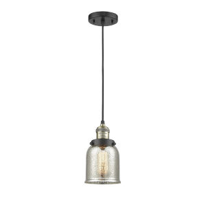 Franklin Restoration Black Antique Brass Five-Inch LED Mini Pendant with Silver Plated Mercury Small Bell Shade and Black