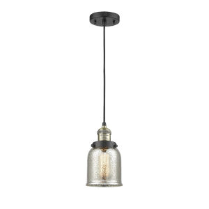 Small Bell Black Antique Brass One-Light Mini Pendant with Silver Plated Mercury Glass