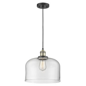 X-Large Bell Black Antique Brass LED Pendant with Clear Glass