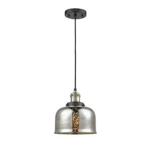 Large Bell Black Antique Brass One-Light Mini Pendant with Silver Plated Mercury Glass