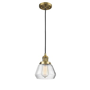 Fulton Brushed Brass Seven-Inch One-Light Mini Pendant with Clear Sphere Glass and Black Cord