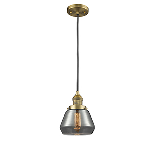 Fulton Brushed Brass Seven-Inch LED Mini Pendant with Smoked Sphere Glass and Black Cord